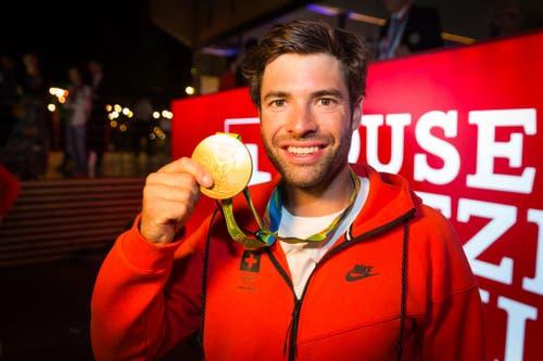Mario Gyr, Olympiasieger 2016 im Leichtgewichtvierer (Bild: Keystone / Präsenz Schweiz, 11. August 2016))