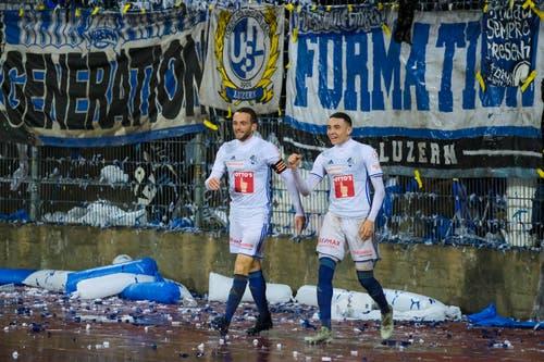 Christian Schneuwly und Ruben Vargas jubeln nach dem Tor zum 0:2. (Bild: Martin Meienberger/freshfocus)