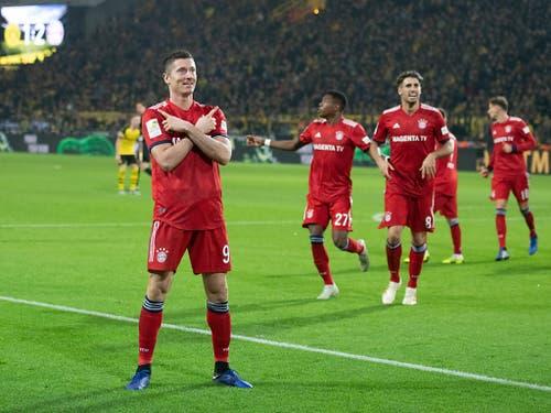 Das stimmte die Welt der Bayern noch: Doppeltorschütze Robert Lewandowski jubelt nach seinem 2:1-Führungstor (Bild: KEYSTONE/dpa/BERND THISSEN)