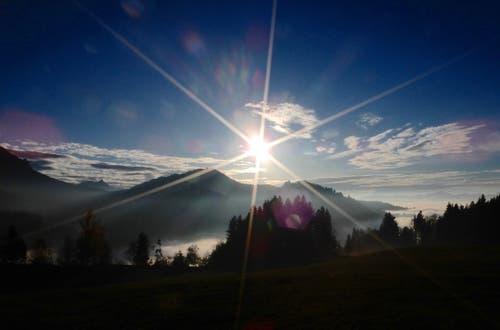 Spät nachmittags zwischen Glaubenberg und Finsterwald: Die Sonne neigt sich nach einem prächtigen Herbsttag dem Horizont entgegen; der Nebel aus dem Tal aber steigt höher und höher... (Bild: Heinz Schürmann (9. November 2018))