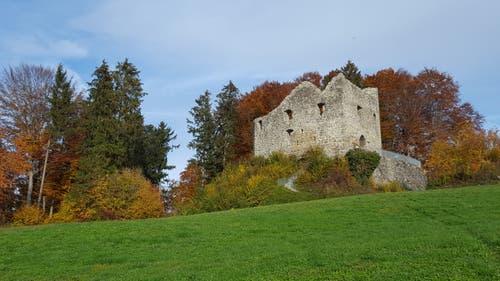 Farbig eingekleidete Burg Nünegg ob Lieli. (Bild: Willy Birrer, 10. November 2018)