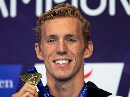 Schwimmer Jeremy Desplanches gewann in diesem Jahr EM-Gold über 200 m Lagen (Bild: KEYSTONE/EPA/PATRICK B. KRAEMER)