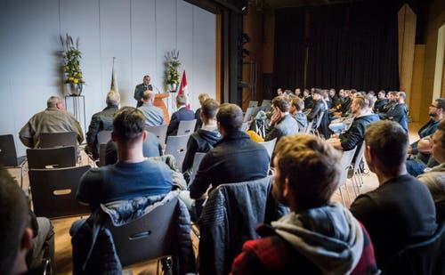 Militärische Entlassungen 2018 in der Mehrzweckhalle Märstetten. (Bild: Andrea Stalder)