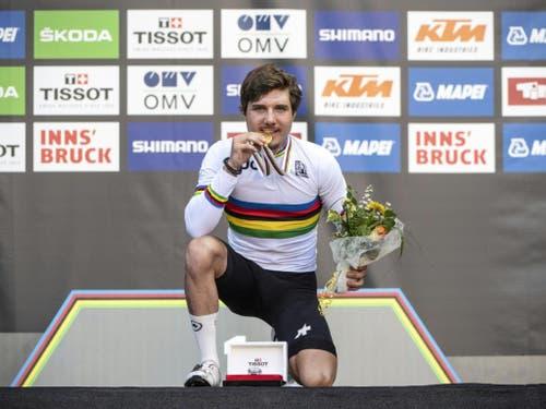 Marc Hirschi gewann im September als erster Schweizer Radsportler überhaupt WM-Gold im U23-Strassenrennen (Bild: Keystone/APA/REINHARD EISENBAUER)