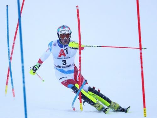 Daniel Yule - wie Aerni und Zenhäusern einer der Schweizer Podestfahrer. Er schaffte es in Kitzbühel und in Schladming in die Top 3 (Bild: KEYSTONE/EPA/LISI NIESNER)