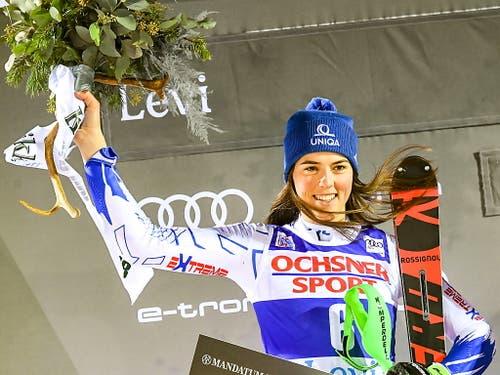 Petra Vlhova - letztes Jahr vor Shiffrin Gewinnerin in Levi, diesmal hinter Shiffrin Zweite (Bild: KEYSTONE/EPA COMPIC/KIMMO BRANDT)