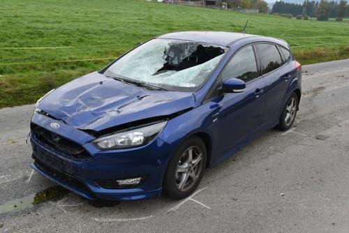 Neuenkirch - 2. NovemberEine Autofahrerin ist mit einem Rind zusammengestossen. Die Lenkerin wurde leicht, das Rind erheblich verletzt. (Bild: Luzerner Polizei)