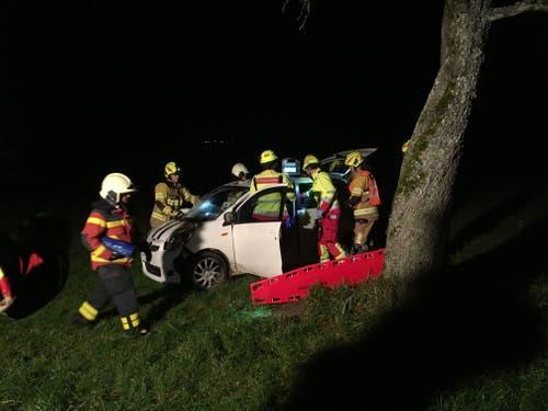Menzingen - 14. NovemberEine Autolenkerin ist von der Strasse abgekommen und in der Wiese zum Stillstand gekommen. Sie musste von der Feuerwehr aus dem Fahrzeug geborgen werden und von der Ambulanz mit unbestimmten Verletzungen ins Spital eingeliefert werden. (Bild: Zuger Polizei)