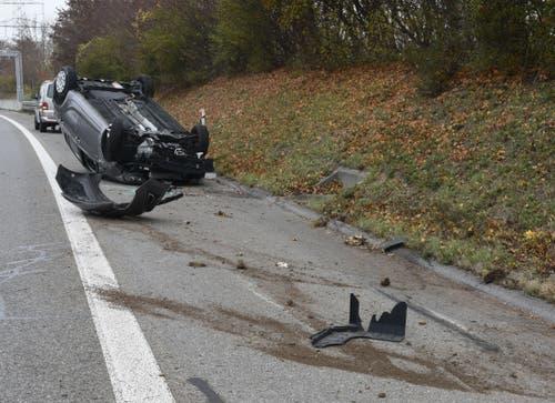 Inwil - 18. NovemberAuf der Autobahn A14 kam es zu einem Selbstunfall. Die Autofahrerin wurde leicht verletzt, ihr vierjähriges Kind blieb unverletzt. (Bild: Luzerner Polizei)