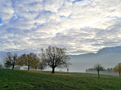 Wunderbare mystische Morgenstimmung mit den Schafswolken am Himmel, dem Dunst und Nebel. Im Hintergrund sieht man die Pilatuskette. (Bild: Urs Gutfleisch (Malters, 22. November 2018))