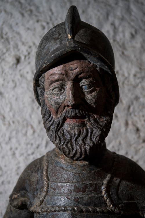 Detailansicht des Bannerträgers, der als Vorbild für die Fritschibrunnen-Figur diente. (Bild: Pius Amrein (13. November 2018))