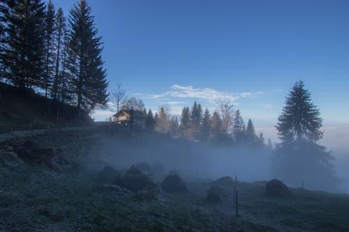 Der Nebel kriecht hangaufwärts, aufgenommen in der Stöck auf dem Weg nach Altruodisegg (Seebodenalp). (Bild: Hans Duss, 25. November 2018)