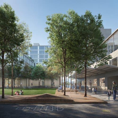 Zwischen den Gebäuden sind Begegnungszonen geplant.