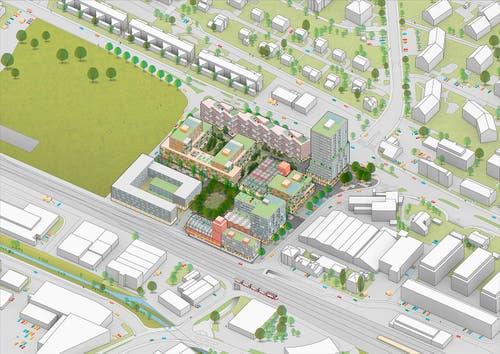 Auf dem Areal plant die Migros nun ein neues Quartier. Unter anderem ist ein 55 Meter hohes Hochhaus vorgesehen. (Visualisierungen: PD/Genossenschaft Migros Luzern)