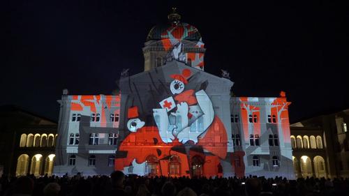 Im Jahr 2016 bespielte Projektil anlässlich von «Rendez-vous Bundeshaus» in Bern das Bundeshaus. (Bild: PD)