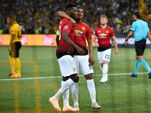 Im Hinspiel in Bern jubelte nur Manchester United (3:0-Sieg) und Paul Pogba (links) war die grosse Figur (Bild: KEYSTONE/ANTHONY ANEX)