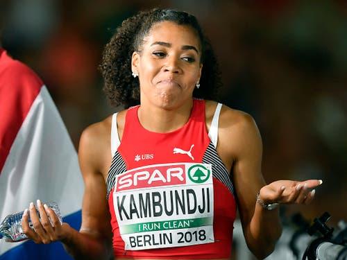Mit drei 4. Rängen war Mujinga Kambundji an der EM in Berlin trotz starker Leistungen über 100 m, 200 m und mit der 4 x 100-m-Frauenstaffel schlecht belohnt. Trotzdem war 2018 leistungsmässig ihre bislang beste Saison. Über 100 m drückte die Bernerin den Schweizer Rekord unter elf Sekunden. (Bild: KEYSTONE/WALTER BIERI)
