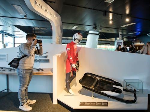 Im Verkehrshaus Luzern gibt es am sofort eine neue Ausstellung mit dem Namen «Olympia Bob Run». (Bild: Alexandra Wey / Keystone (Luzern, 8. November 2018))