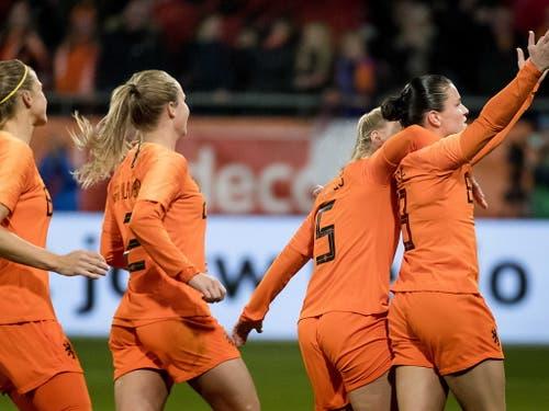 Die Niederländerinnen hatten dreimal Grund zu jubeln (Bild: KEYSTONE/EPA ANP/KOEN VAN WEEL)