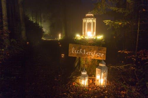 Waldzauber im Buttenberger Wald, wo der Lichterglanz den Weg beleuchtet. (Bild: Vroni Wey (Rickenbach, 25. November 2018))