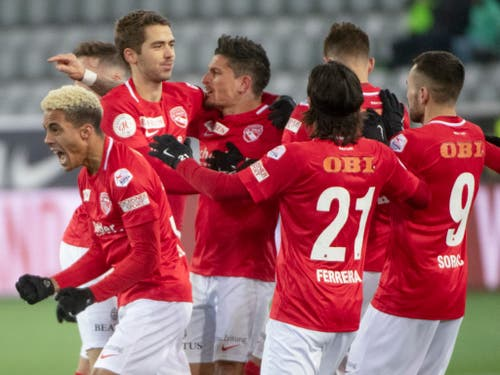 Der FC Thun bleibt das Überraschungsteam der Super League: 3. Platz bei Halbzeit (Bild: KEYSTONE/MARCEL BIERI)