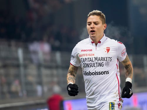 Da war der FC Sion noch auf Kurs: Stürmer Adryan nach dem Führungstor gegen Basel (Bild: KEYSTONE/JEAN-CHRISTOPHE BOTT)