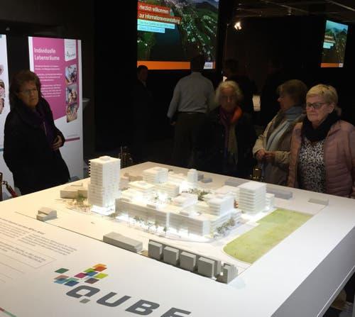 Besucherinnen eines Infoanlasses zum Projekt beäugen das Modell des geplanten Quartiers. (Bild: hor (Ebikon, 27. November 2018))