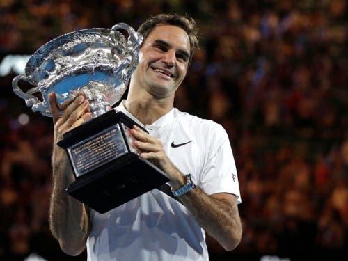 Der 20. Grand-Slam-Titel am Australian Open in Melbourne und die älteste Nummer 1 im ATP-Ranking: Roger Federer brillierte auch 2018 einmal mehr (Bild: KEYSTONE/AP/DITA ALANGKARA)