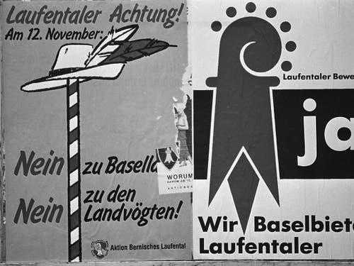 Ein pro-Bern und ein pro-Basel-Landschaft Plakat im Vorfeld der Abstimmung 1989. (Bild: KEYSTONE/STR)