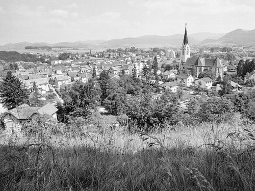 Eine Ansicht der Ortschaft Laufen, aufgenommen im Jahr 1980, zur Zeit, als sich für Laufen und das Laufental die Frage stellt, ob die Exklave beim Kanton Bern verbleiben oder sich einem Nachbarkanton anschliessen soll. (Bild: KEYSTONE/STR)