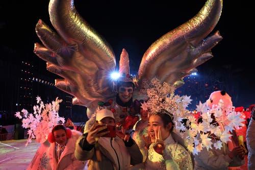 China: Eine Tänzergruppe in Peking. (Bild: KEYSTONE/AP Photo/Ng Han Guan)