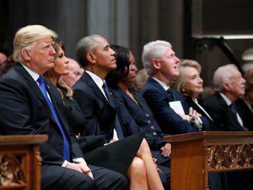An der Trauerfeier für den früheren US-Präsidenten George H. W. Bush nehmen US-Präsident Donald Trump und seine demokratischen Vorgänger Barack Obama, Bill Clinton und Jimmy Carter teil. (Bild: KEYSTONE/Pool AP/ALEX BRANDON)