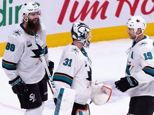 Die San Jose Sharks stehen nach dem zweiten Sieg in Folge wieder auf einem Playoff-Platz (Bild: KEYSTONE/AP The Canadian Press/PAUL CHIASSON)