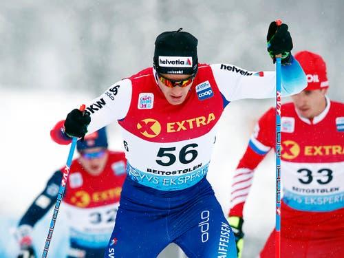 Die Pace nicht durchgehalten: Dario Cologna fiel in Beitostölen in der zweiten Streckenhälfte auf den 17. Platz zurück (Bild: KEYSTONE/AP NTB scanpix/TERJE PEDERSEN)