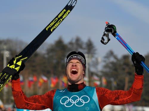 Vierte olympische Goldmedaille: Dario Cologna avancierte in Pyeongchang zum erfolgreichsten Schweizer Winter-Olympioniken (Bild: KEYSTONE/GIAN EHRENZELLER)