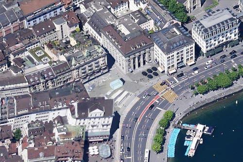 Luftbild der Station Schwanenplatz. (Bild: Visualisierung PD)