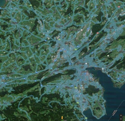 Der Kartendienst am 19. Mai. Blau markiert sind die Strassen, die Google befahren hat. (Bild: Google Street View)