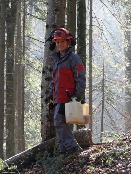 Ivan Felder packt im Forstbetrieb der Korporation Hergiswil mit an. (Bild: Josef Odermatt, Amt für Wald und Energie NW)