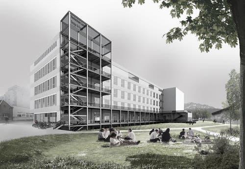 Im Gebäude sind unter anderem schallgeschützte Tonstudios, Schnittplätze, Unterrichtsräume und Ateliers geplant. Im Erdgeschoss sollen Ausstellungsräume, eine Bibliothek, ein Café und ein Aktionsraum entstehen. (Bild: PD)