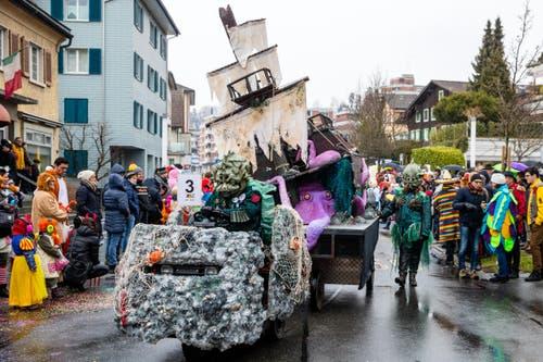 Wagenbaugruppe Delirium mit dem Motto Meereskrieger (Bild: Philipp Schmidli)