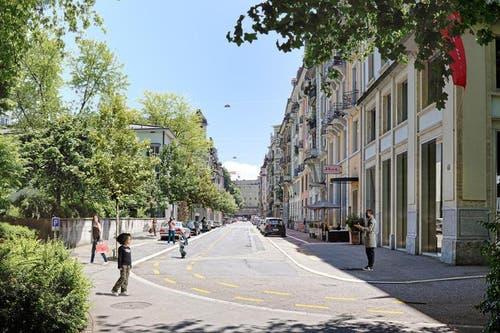 Die Sempacherstrasse wie sie nach der Sanierung aussehen soll. (Bild: pd / Visualisierung)