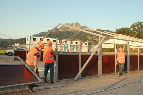 Aufbau des Stalls für die Pferde. (Bild: René Meier / Luzernerzeitung.ch)