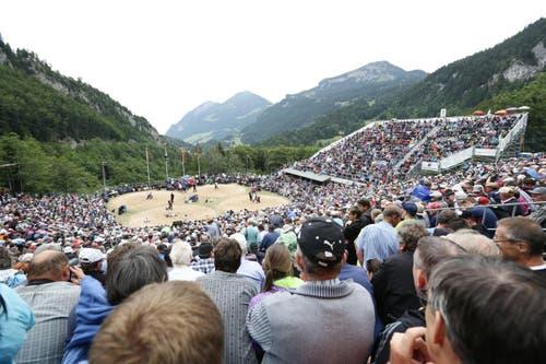 6390 Zuschauer in der imposanten Brünig-Arena verfolgen das Geschehen in den vier Sägemehlringen. (Bild: Manuela Jans / Neue LZ)