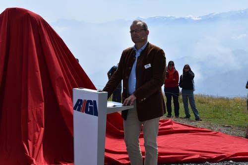 Verwaltungsratspräsident der Rigi Bahnen AG, Karl Bucger, hält eine Rede vor den Gästen. (Bild: pd)