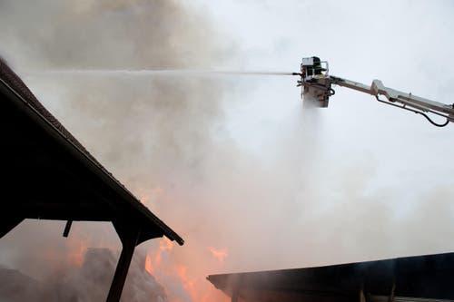 Feuerwehrleute rückten den Flammen mit Drehleitern zuleibe. (Bild: Dominik Wunderli / Neue LZ)