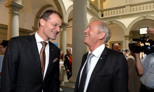 Der neu gewählte SVP-Regierungsrat Paul Winiker (rechts) dürfte Justiz- und Sicherheitsdirektor werden, Regierungspräsident Reto Wyss (CVP) möchte Bildungsdirektor bleiben. (Bild: Nadia Schärli / Neue LZ)