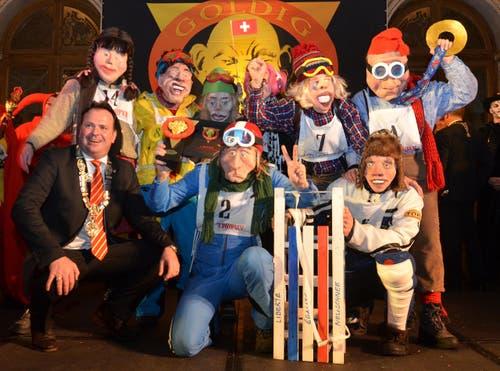 Das Team «Schlittelrennen» ist der Gewinner des goldigen Grend. (Bild: Claudia Surek)