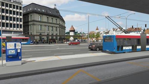 RBus beim Bahnhof Luzern (Bild: Visualisierung Mathys Partner)