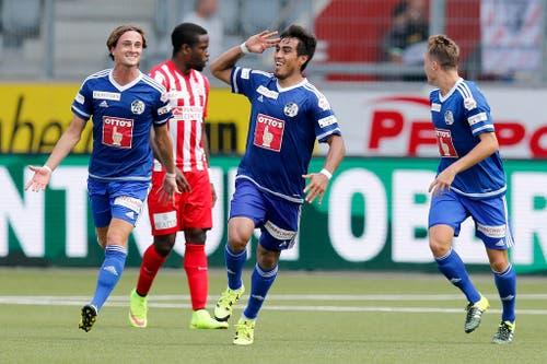 So grüsst ein Torschütze: Luzerns Dario Lezcano, nach seinem Tor zum 0:1 am 2. August gegen Thun. (Bild: Keystone / Peter Klaunzer)