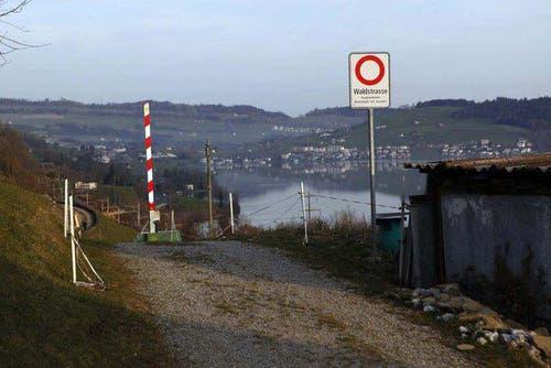 Die Unfallstelle kann nur via eine Waldstrasse erreicht werden. (Bild: Geri Holdener)